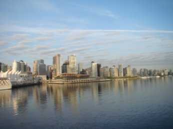 The sight of the port of Vancouver, British Columbia upon departure and arrival is a striking cityscape