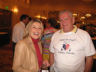 Supervisor of Elections Jennifer Edwards and Marco Islander Bill McMullan at the Hilton's Haiti fundraiser. (Photo by Jeane Brennan)