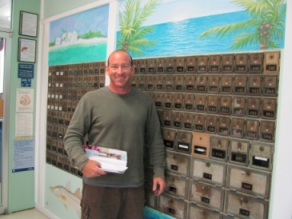 Steve Kaplan of Carter Dock and Pile, picking up his mail. (Photo by Jeane Brennan)