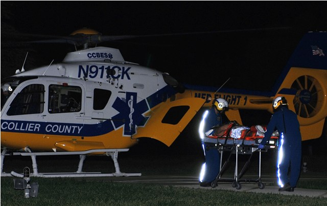 The stabbing victim was airlifted to Lee Memorial Hospital for treatment.