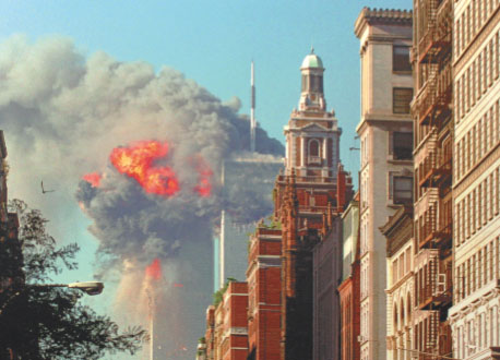 New York Twin Towers in flames, September 11, 2001.