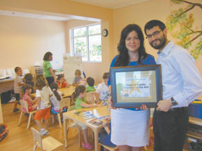 Rabbi Fishel Zaklos, Chabad's Spiritual leader and his wife Ettie, Director of the school are excited that their hard work has been rewarded in such a short time. It the people's choice as best preschool, and its enrichingprogram is obviously appreciated by student and parents alike. The school hasbeen in operation for only one year.