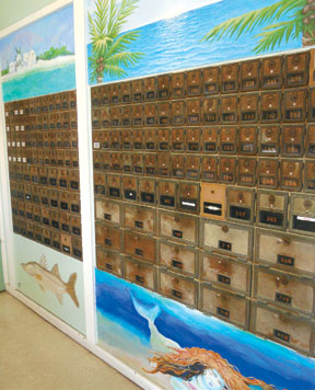 Old Post Office Boxes and new art.