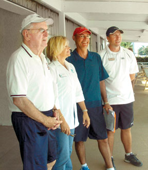 Jim Curran, Cindy Love, Tennis Director Raul Saad, Rick Calton Tennis Pro Island CC.
