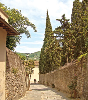 The walk up to the Franciscan Monastery in Fiesole.
