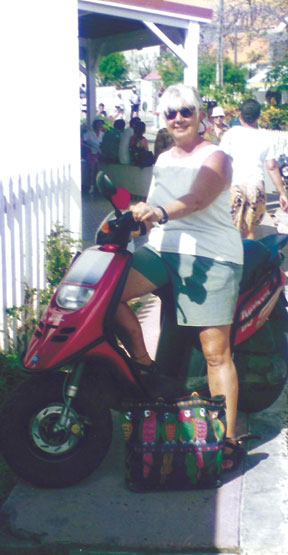 Me, on my scooter in Iles de Saintes.