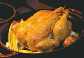 Roasted chicken is no turkey.