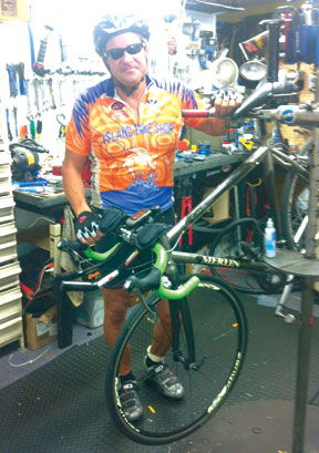 Father Bennett readies for 115 mile trek. SUBMITTED PHOTO