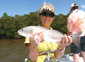 Nice Red caught on light tackle. PHOTO BY MARY FINK/COASTAL BREEZE NEWS