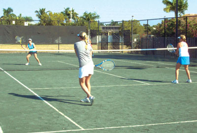 Ladies doubles kicks off.