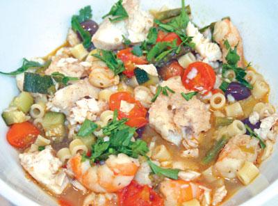 Tripletail and shrimp soup.