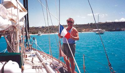 Herman raising the French Flag.