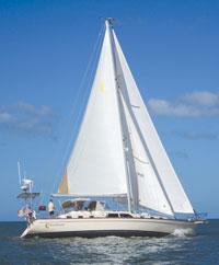 Moonbeam under sail.