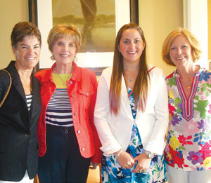The Jane Vee Scholarship Committee poses with Chelsea Guoynes. (L to R) Kathy Sneddon, Elizabeth Murray, Chelsea Guoynes, and Sheila Wilbur.