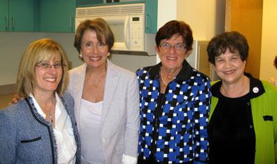 from left: Susan Berlin, Nancy Pelosi, Eileen Recchia, and Lois Frankel