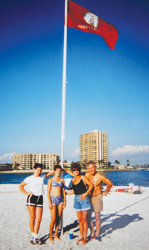 The Island claimed by Shipp's Landing on July 4, 1998. Jim and Karen O'Donnell with their daughters Kelly and Trish.