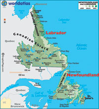 Newfoundland is an island off the eastern tip of Canada.