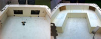 The deck of a customer's boat before JD Fiberglass gets to work and after.