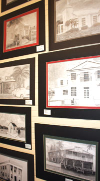 Drawings of historic buildings throughoutEverglades City. Everglades City School's art teacher is Mr. Tribble. PHOTOS BY NATALIE STROM