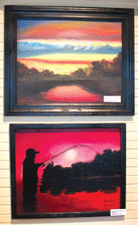 Top painting by Savannah Humphreys, 9th grade. Bottom painting by Brandon Bruscini, 8th grade.