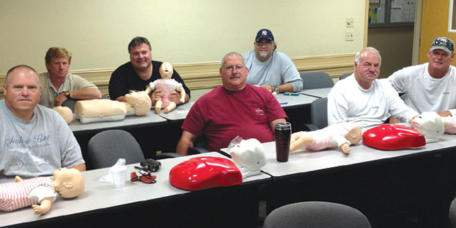 These coaches are more prepared for an on field emergency with up-to date CPR certification: Dave Vergo, Ricky Soto, Rick Endres, Hayden Warren, Eddie Webb, JimGates and Randy Hamilton (not in order ofappearance). SUBMITTED PHOTO