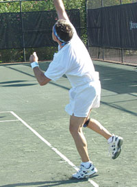 Marco Islander Ray Jean serving in perfect position.