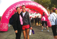 Lisa and Alexandra at the finish line for the Avon Walk for Breast Cancer; Lisa's second walk with her second-born daughter.