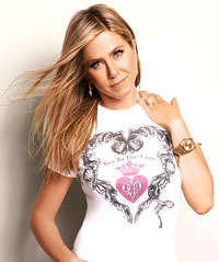 Jennifer Aniston, EIF ambassador for Saks Fifth Avenue's 2013 Key To The Cure campaign, models the Pucci-designed t-shirt for sale at this year's Pink Party. SUBMITTED PHOTOS