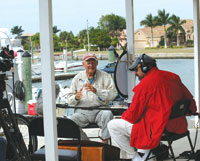 "Captain Chris Desmond is interviewed by the crew of ""Sea Rescue."" PHOTO BY PATTY WEBB"