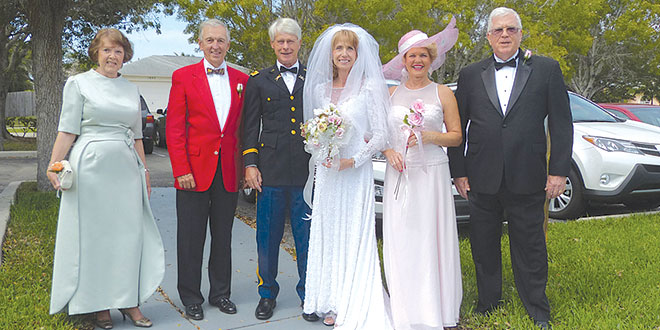 The wedding party (l-r): Donna Gordon, Al Saunders, David Abercrombie (groom), Margi Abercrombie (bride), Sheila Sawyer and Bob Meyn. SUBMITTED PHOTOS