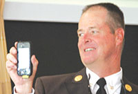 Chief Tom Bogan connects with Dan Stoller via FaceTime.