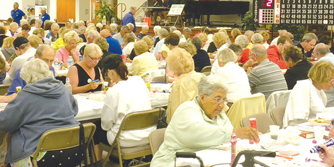 Bingo! The crowd at a recent Knights of Columbus bingo night drew a record crowd of 303. SUBMITTED PHOTOS