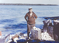 Joe Dickman at his place on Kice Island 1960s.