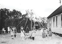"""Identified on reverse as """"Maypole dance at Caxambas' first school. Courtesy of Mrs. Elva Griffis"""". Courtesy of Collier County Museums"""