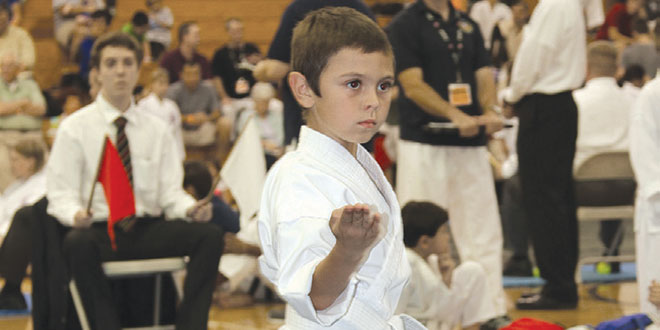 Eight year-old Santino Galvez, pictured at the 2014 AAU Super Regional Tournament.