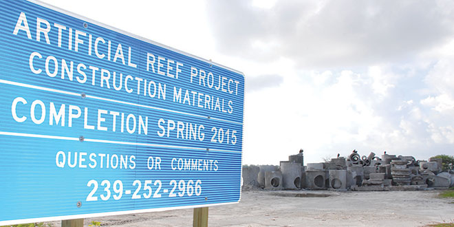 The material for the artificial reef is ready to go at the base of Jolley Bridge.SUBMITTED PHOTOS