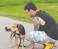 The 'baby' of our family, Tyler, and his dog Krypto, have been taking daily walks to learn the lay of the land.