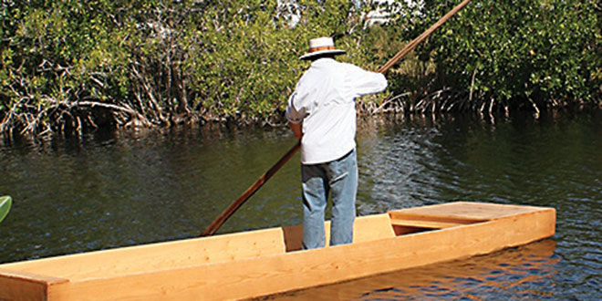 Jack Shealy demonstrates the art of poleboating.