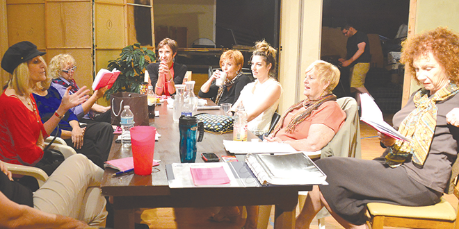 """The cast of """"Love, Loss, & What I Wore"""" rehearses."""