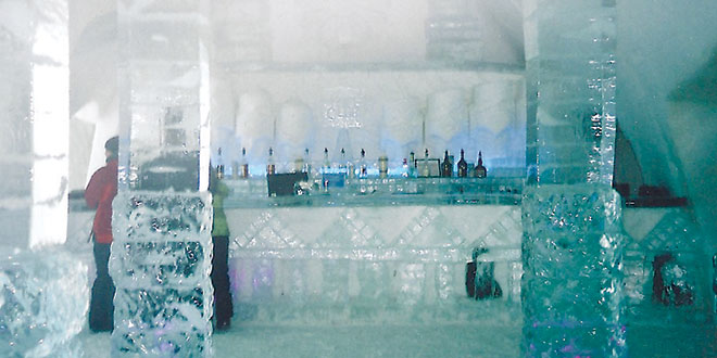 Even the spirits behind the counter can't warm the bar made of ice. SUBMITTED PHOTOS