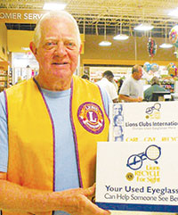 Joe Bartucci, Lions Club President, holds donation box for used eyeglasses. SUBMITTED PHOTO