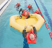 Swimming skills and raft boarding ability tested while flight clothes and shoes are worn.