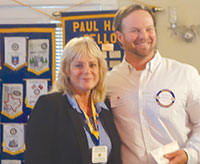 Sunrise Rotary's Kathleen Beaufait with Parker Stephen, St. Matthew's House.