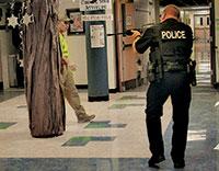 It was a strange sight, officers with gun blazed in the Tommie Barfield Elementary school hallway.