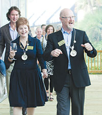 PHOTO BY MILA BRIDGER PHOTOGRAPHYLinda and Tom Koehn attend last year's gala, glass in hand