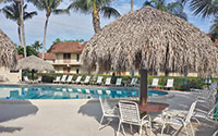 A tiki hut at the Seabreeze pool offers a shady spot to relax.