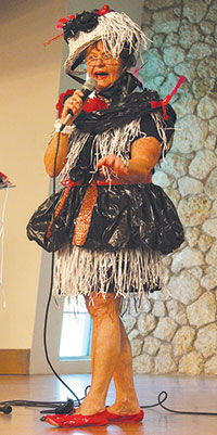 Fanny Frugal (Judy Daye) showed off her garbage bag-chic outfit. Daye has been performing at the fashion show for the last20 years.
