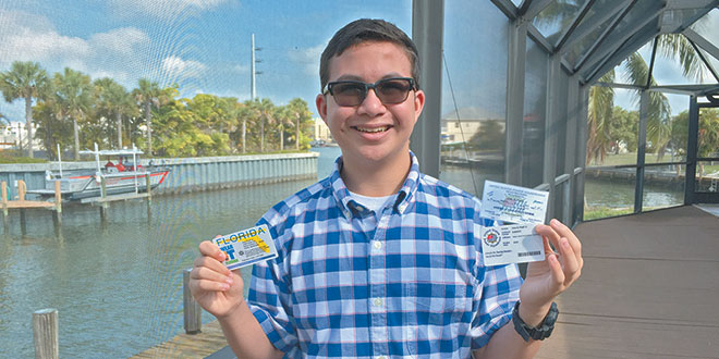 Joey Puell with his MISPS membership card and his Boating Safety Education ID. Submitted Photos