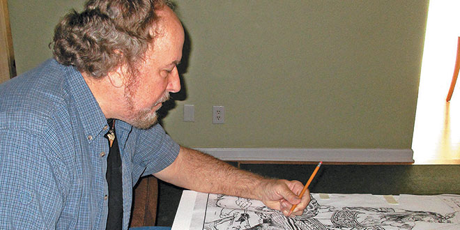 Merald Clark transfers a sketch. Submitted Photo