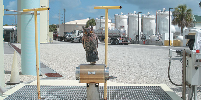 The friendly owl keeps a check on the valve.